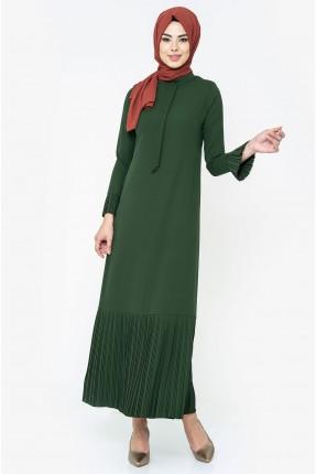 فستان سبور بموديل كسرات - اخضر