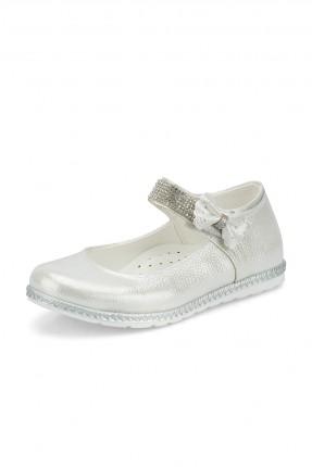 حذاء اطفال بناتي مزين بستراس لامع - ابيض