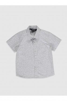 قميص اطفال ولادي بطبعة اوراق شجر - بيج