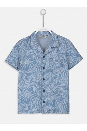 قميص اطفال ولادي بطبعة اوراق شجر
