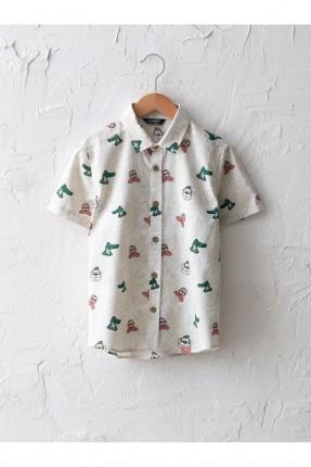 قميص اطفال ولادي بوبلين برسومات ملونة - بيج