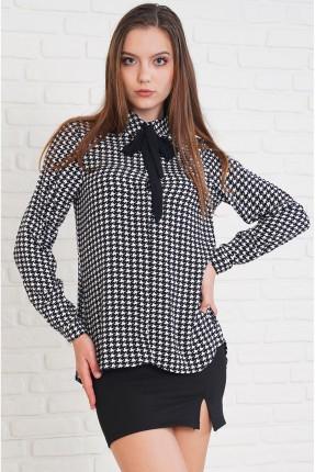 قميص نسائي كاروهات مزين بشيفون