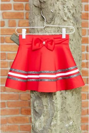 تنورة اطفال بناتي مزينة بفيونكة - احمر