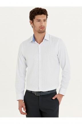 قميص رجالي منقط - ابيض