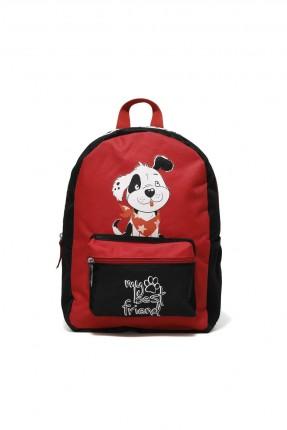 حقيبة ظهر اطفال بناتي مزينة بطبعة - احمر