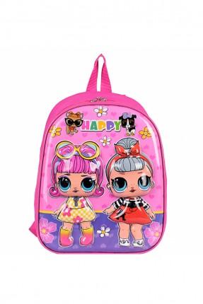 حقيبة ظهر اطفال بناتي برسمة لول - زهري