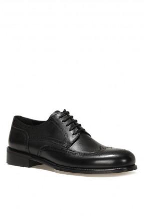 حذاء رجالي مزين بنقشة - اسود