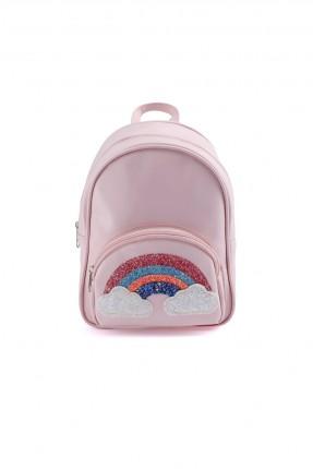 حقيبة ظهر اطفال بناتي مزينة بقوس قزح - زهري