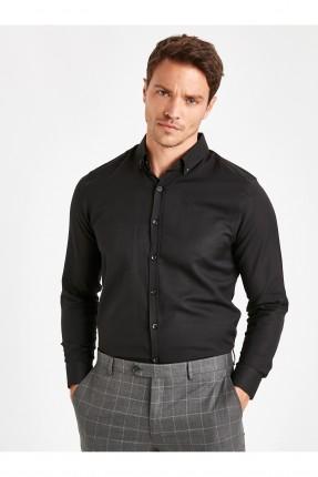 قميص رجالي سادة اللون - اسود