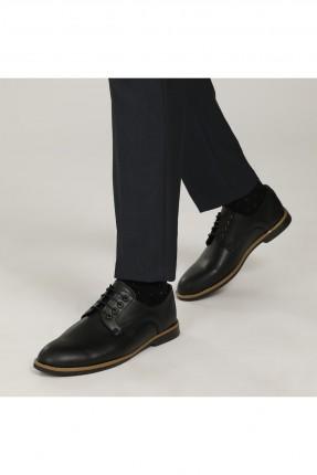حذاء رجالي مزين بخط مغاير اللون - اسود