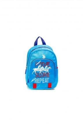 حقيبة ظهر اطفال ولادي مزينة برسمة شعار الماركة  - ازرق