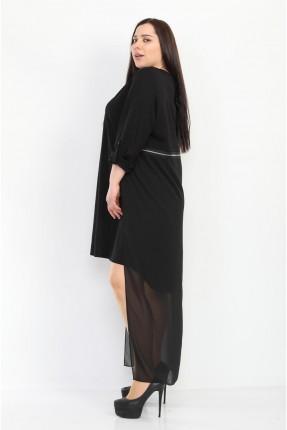 فستان مزين بتفاصيل شيفون - اسود