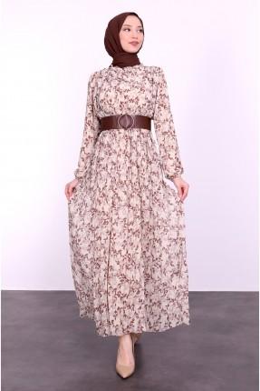 فستان نسائي مزين بحزام عند الخصر