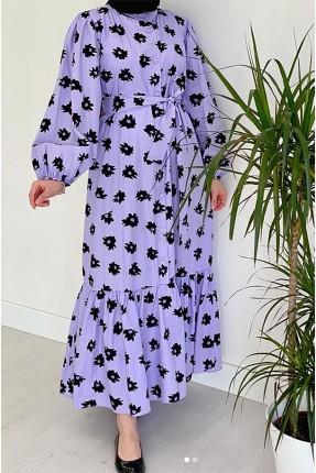 فستان نسائي مزين بازرار - موف