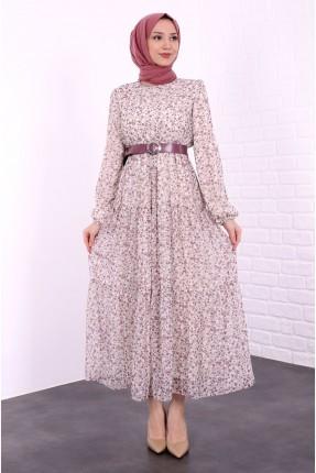 فستان نسائي مزموم الاكمام  - زهري