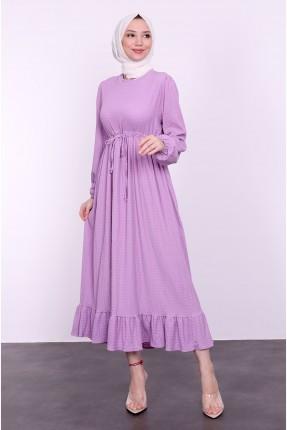 فستان نسائي مزين بكشكش من الاسفل - موف