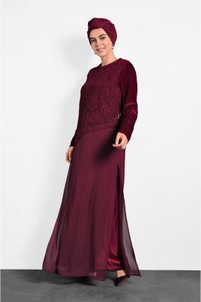 فستان رسمي بتفاصيل شيفون - خمري