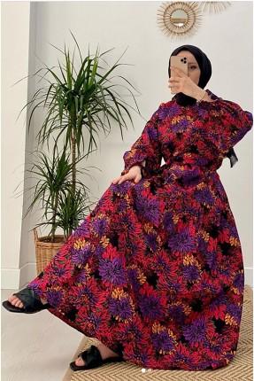 فستان نسائي مزهر - فوشيا