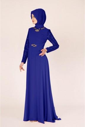 فستان رسمي باكمام ذو لمعة - كحلي