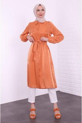 قميص نسائي لامع - برتقالي