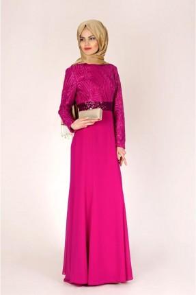 فستان رسمي مزين بترتر لامع - فوشيا
