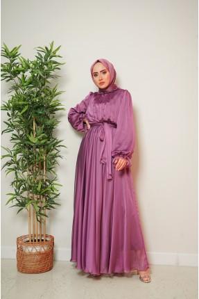 فستان نسائي رسمي سادة اللون - زهري