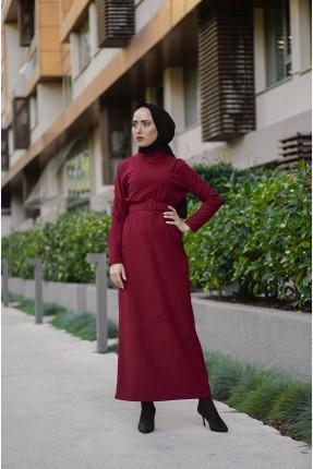 فستان نسائي مزين بحزام - خمري