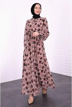 فستان نسائي مزين بنقشة