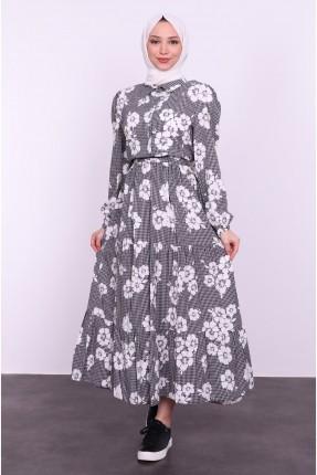 فستان نسائي مزهر - اسود