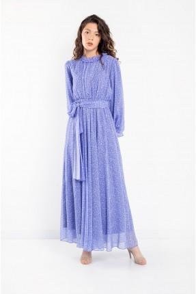 فستان نسائي مزين بنقشة - موف