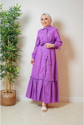 فستان نسائي مزين بكشكش - بنفسجي