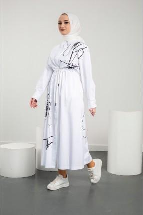 فستان نسائي مزموم الخصر - ابيض