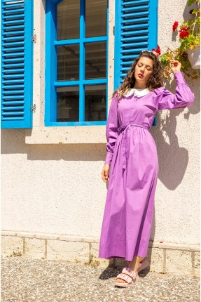 فستان نسائي مزين بكسرات على الصدر - موف