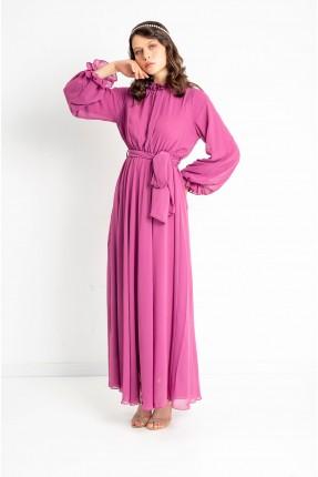 فستان نسائي بياقة كشكش - زهري