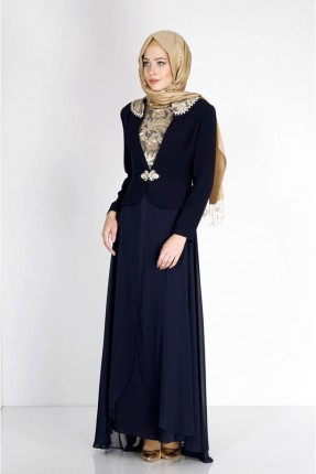 فستان رسمي مزين بنقشة - كحلي