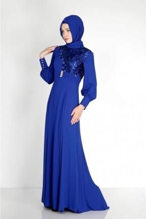 فستان رسمي مزين بتفاصيل ذو لمعة - ازرق