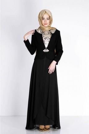 فستان رسمي مزين بتفاصيل - اسود