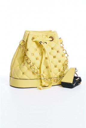 حقيبة يد نسائية مزينة بخط مغاير اللون - اصفر