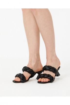 حذاء نسائي مجدول - اسود