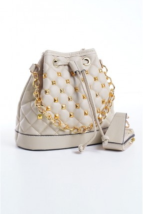 حقيبة يد نسائية مزينة بسلسلة معدنية - بيج