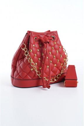 حقيبة يد نسائية مزينة بسلسلة معدنية - احمر