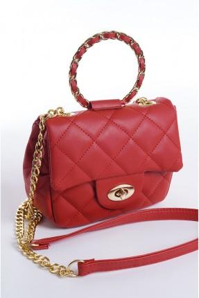 حقيبة يد نسائية محبوكة - احمر