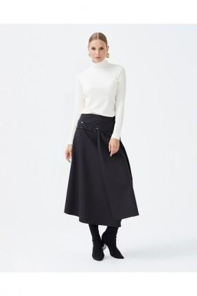 تنورة متوسطة الطول سادة اللون - اسود