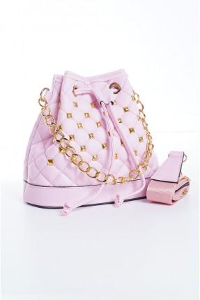 حقيبة يد نسائية بسلسلة معدنية - زهري