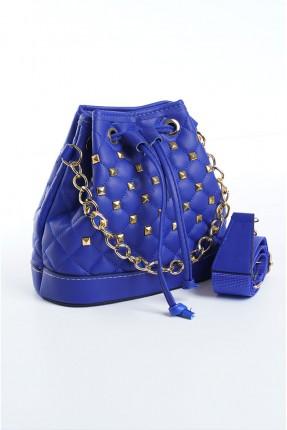 حقيبة يد نسائية مزينة بتفاصيل معدنية - ازرق