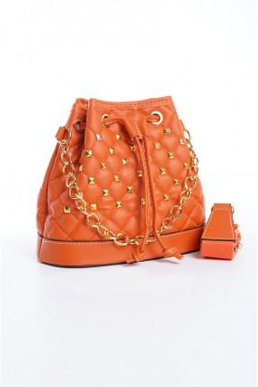 حقيبة يد نسائية مزينة بخط مغاير اللون - برتقالي
