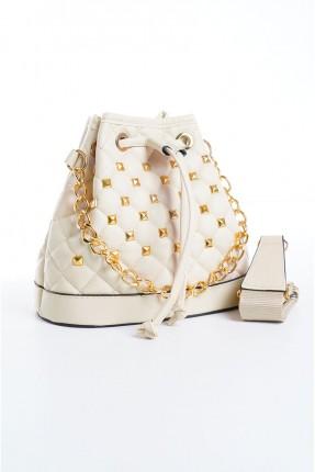 حقيبة يد نسائية مزينة بتفاصيل - بيج