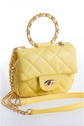 حقيبة يد نسائي مزينة بسلسلة معدنية - اصفر
