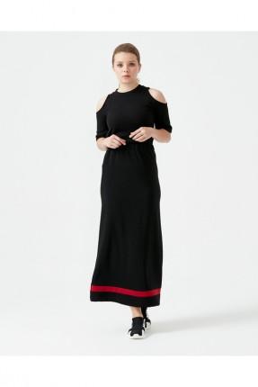تنورة طويلة مزينة بخط مغاير اللون - اسود