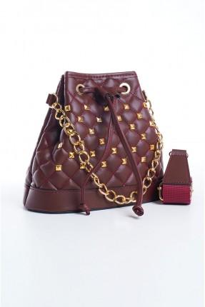 حقيبة يد نسائية مزينة بربطة - خمري